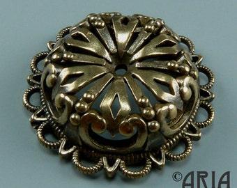DAMASK MEDALLION: Damask Antique Silicon Bronze Medium Medallion Connector Pendant, 7.6x24.45mm (DMMD02)