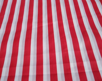 Red Stripe Fabric, Red/White Drapery Fabric, Red Home Decor Fabric, Red Quilt Fabric, (1) Yard 36'' x 60'' Width