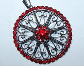 Vintage Silver Pendant with Red Crystals.