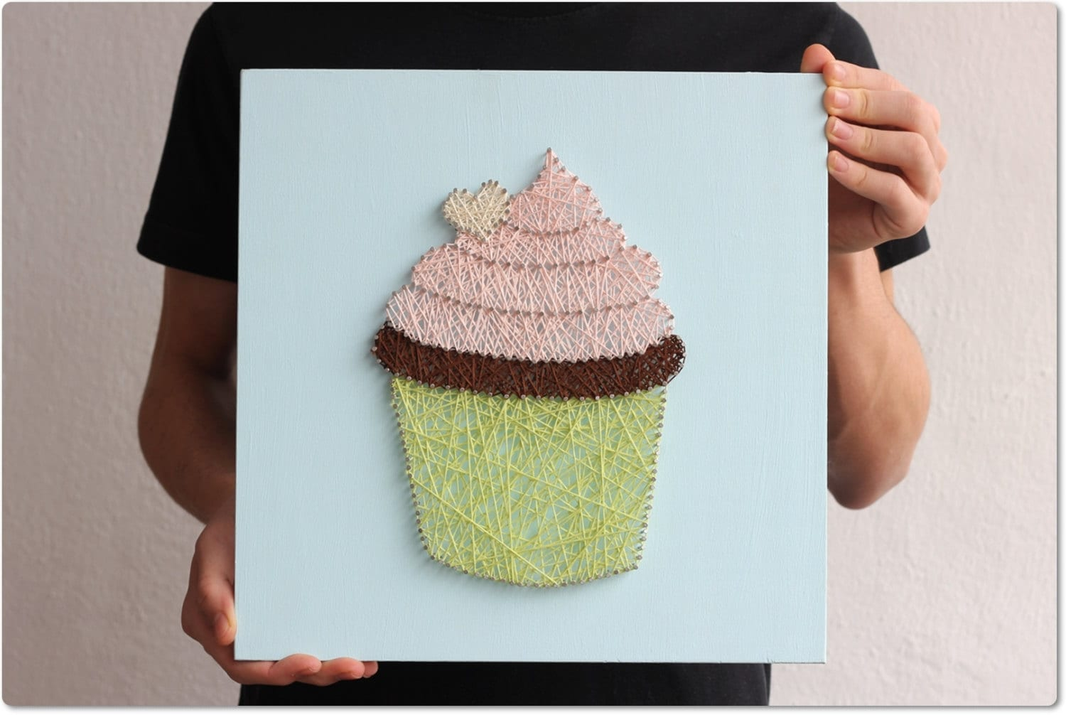 Cupcake string wall art cupcake wall hanging kitchen by for Cupcake wall art