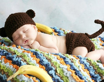 RUSH my Crochet Brown Baby Monkey Hat and Diaper cover set with Tail Boy or Girl preemie newborn, 0-3 month, 3-6 month