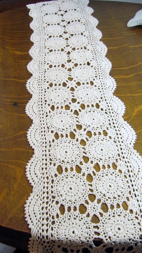 Free Crochet Patterns For Dresser Scarves : Vintage Crocheted Table Runner Extra Long Dresser Scarf