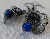Bell Flower Earrings - Antique Silver and Blue Agate