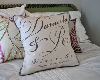 Engagement Pillow with Bride & Groom Names and Date