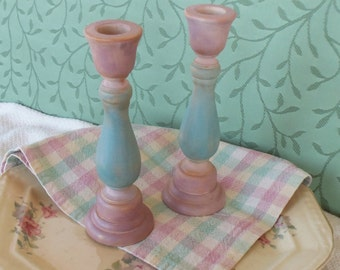 Painted Wood Candleholders - 7 Inch Pink, Blue Hardwood Candlesticks - Romantic Colorwashed Cottage or Shabby Chic Candle Holders