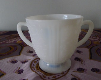 Translucent milk glass sugar bowl