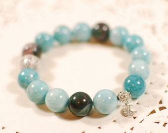 10% Holiday Sale Plus FREE SHIPPING - Natural Gemstone Bracelet, Bangle - Peaceful, Calm, Karma, Fortune, Aura