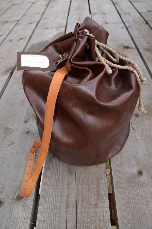 Rare Vintage Sailor Army Waterproof Backpack Duffle Bag