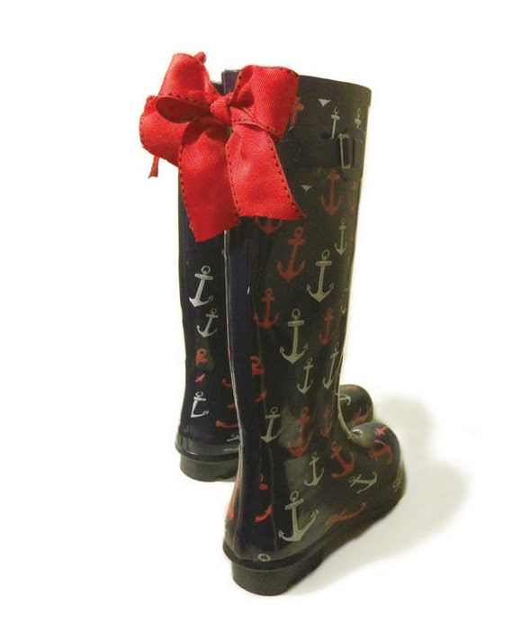 Navy Anchor Rain Boots with Red Bow by GoslingBoots on Etsy