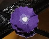 Dark and light purple felt flower - small white heart button - little girls headband - head band