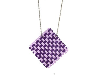 Polymer clay necklace Woven necklace Spring necklace Purple necklace Rhombus necklace Pastel necklace Statement necklace Geometric necklace