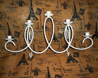 Vintage White Wall Candelabra, Metal, Handpainted, Shabby Chic, Wall Decor