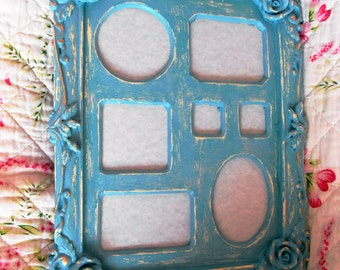 Distressed Picture Frame, Shabby Chic, Teal, Baroque Style