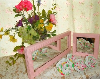 Two Shabby Chic, Mirrors, Pink, Girls room Decor, Nursery Room, hand painted