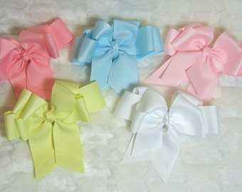 Pastel Set of 5 Girls 5 inch Double Hair Bows in Pink Yellow Blue and White