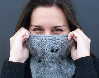 "Instant Download Knitting cowl pattern ""3 little owls"", to circular needles"