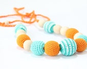 Nursing necklace / Teething necklace / Crochet Necklace for mom and child / Breastfeeding Jewelry for Mom / Crochet sling necklace - TanyaforBaby