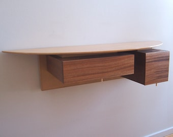 Contemporary Entry Wall Shelf With Two Drawers