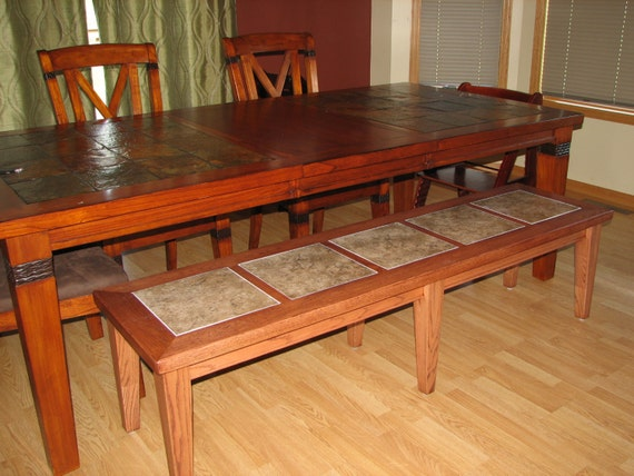 Items similar to Dining table bench with tile inlay on Etsy