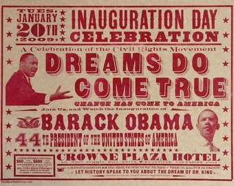 OBAMA INAUGURATION CELEBRATION 2009 Hand Printed Letterpress Poster