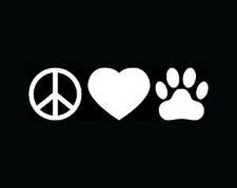 Peace Love Paw vinyl car decal