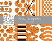"Basketball Digital Paper 12 Pack- INSTANT DOWNLOAD - 12""x12"" Basketball Birthday Themed Set - Digital Scrapbooking"