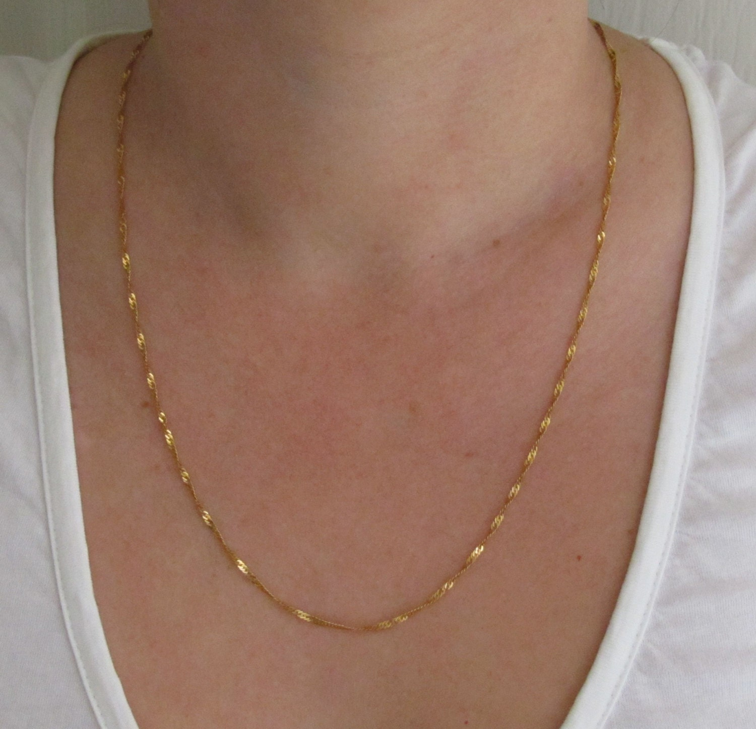 21k Solid Gold Chain Necklace 21kt Vintage Yellow Gold