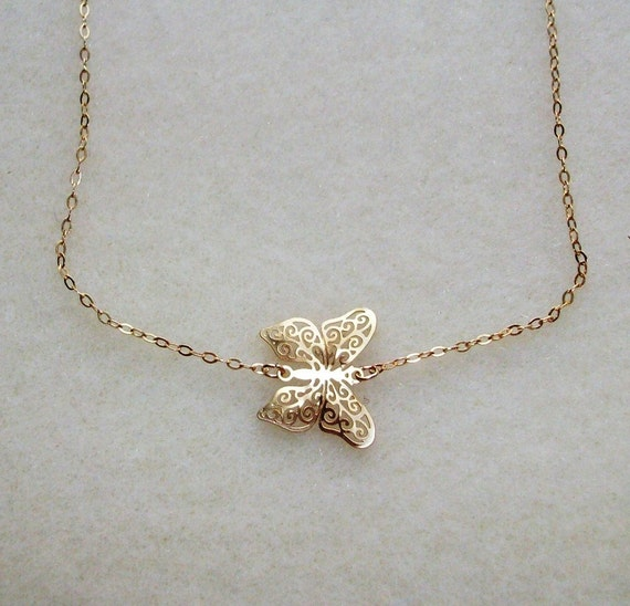 Gold Butterfly Necklace Butterfly Necklace In Gold Animal