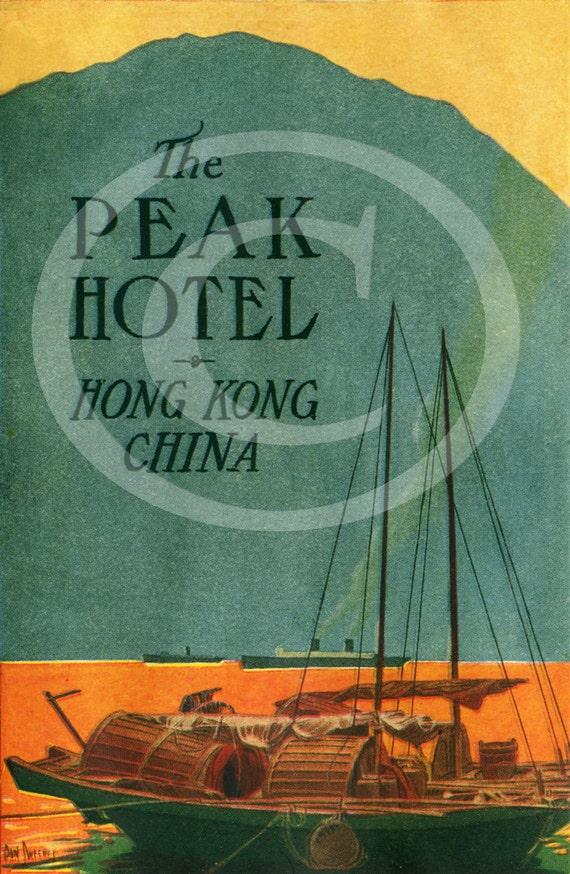 Hong Kong Hotel Travel Poster Dan Sweeney The Peak Hotel HONG KONG China Boat luggage Travel label Fine Art Print Vintage Poster wall art