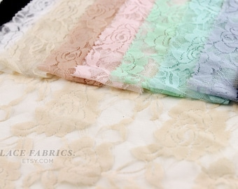 SINGLE COLOR Sample Cuts for Stretch Lace Fabric 9 Color Swatches Available Style 216
