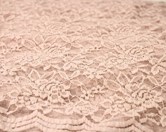 Blush Scalloped Lace Fabric by the Yard Wedding Bridal Craft Lace Material  Blush Lace Fabrics - 1 Yard Style 312