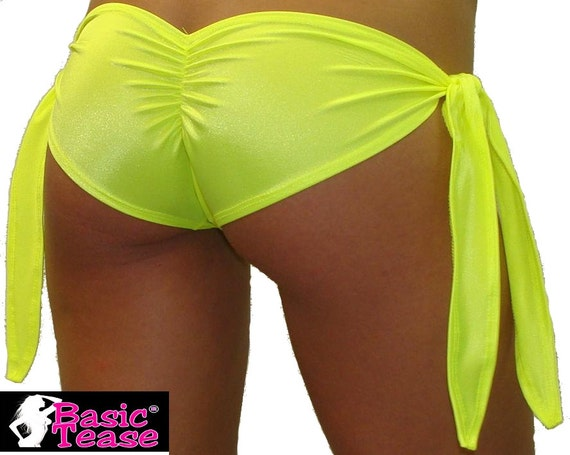 Stripper Gather Butt Shorts with Tie Sides for Exotic Dancers, Thong Bikini Cover Up, Pole Fitness Class