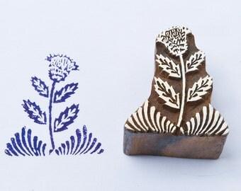 Wood block stamp, Lone flower