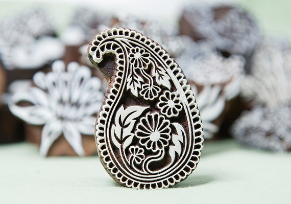 Paisley printing block, lovely prints on both paper or fabric