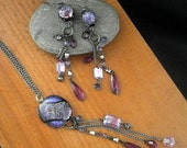 Upcycled Statement Necklace & Earring Fused Glass Set Purples