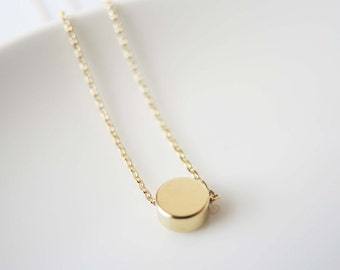 SALE 15% OFF ....... Gold dot necklace - gold disc necklace