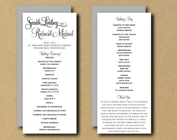 Sale printable wedding program template whimsical like this item pronofoot35fo Images