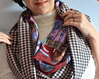 Scarf, Colorful Scarf, Double Wrap, Fashion Scarf, Double Color Scarf, Womens Scarves, Handmade Scarf, Vintage Scarf, Plaid Blanket Scarf