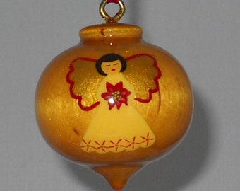 Wooden Christmas Ornament, Angel with Poinsettia, WBO-31