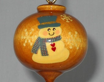 Wood Christmas Ornament, Hand Painted Wood Snowman Ornament, WBO-60