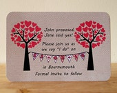 20 x Heart Tree and Bunting Save the Date Cards - Envelopes included
