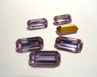 Vintage Crystal Glass Alexandrite Light Purple colour Slim Octagon foiled rhinestones approx 10mm x 5mm - 6 pieces Art No 176/1
