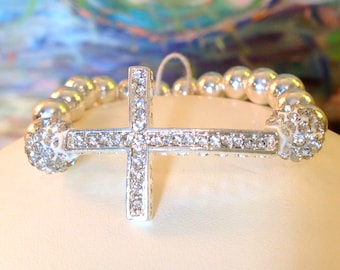 GIRL'S FIRST Communion Gift Silver and Rhinestone Sideways Cross Bracelet, Confirmation Gift, Christian Jewelry, Religious Bracelet