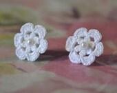 Tiny handmade crocheted lace flower earrings, white shown, 1/2 inch.