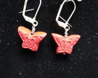 Small Red Cinnabar Butterfly Earrings