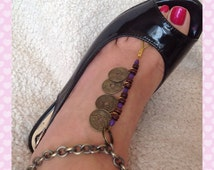 Pair of beaded barefoot sandals, purple and wooden beads, Chinese coin charms, boho gold anklet