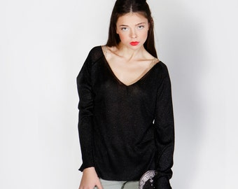 Knit Black Top  Winter Top oversize top black shirt relaxed top shiney top
