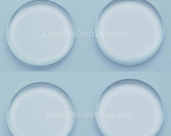 20 Round Clear Glass Tile - 1 inch (25mm) Flat Glass Cabochons. (25MRFCAB)