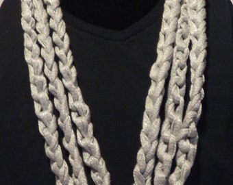 Chunky Crochet Chain Scarf/Necklace in Shimmery Gray