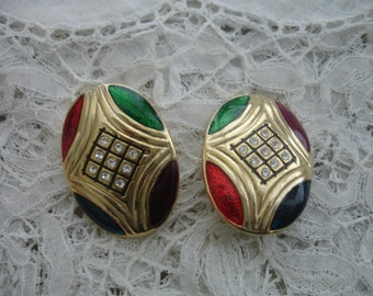 Vintage rhinestone coloured  enamel 1980's earrings clip ons